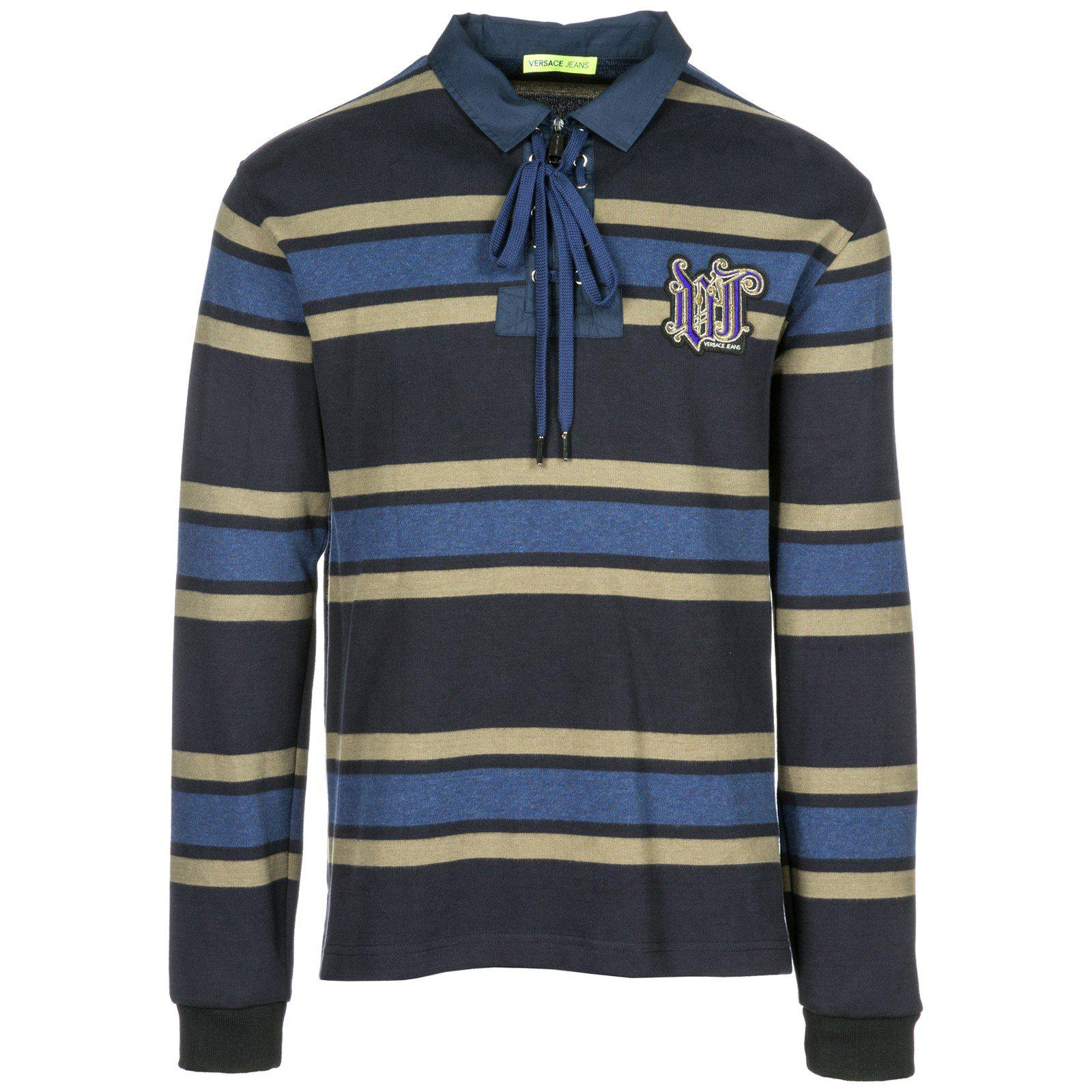 70ece28d Versace Jeans Polo Collar Striped Long Sleeve T-shirt in Blue for ...