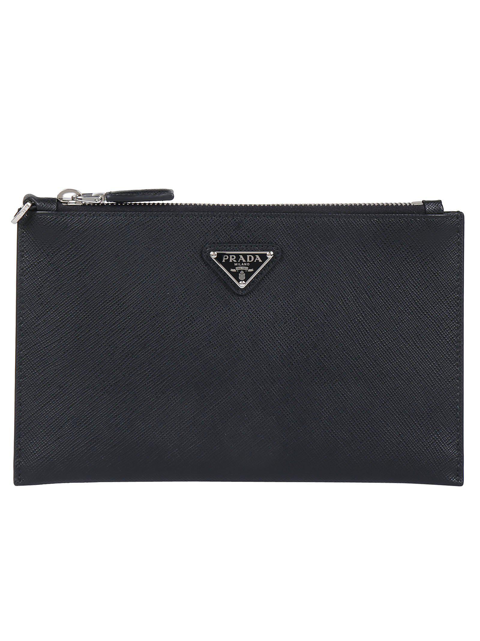 a305a589c56a Prada - Black Leather Logo Pouch - Lyst. View fullscreen