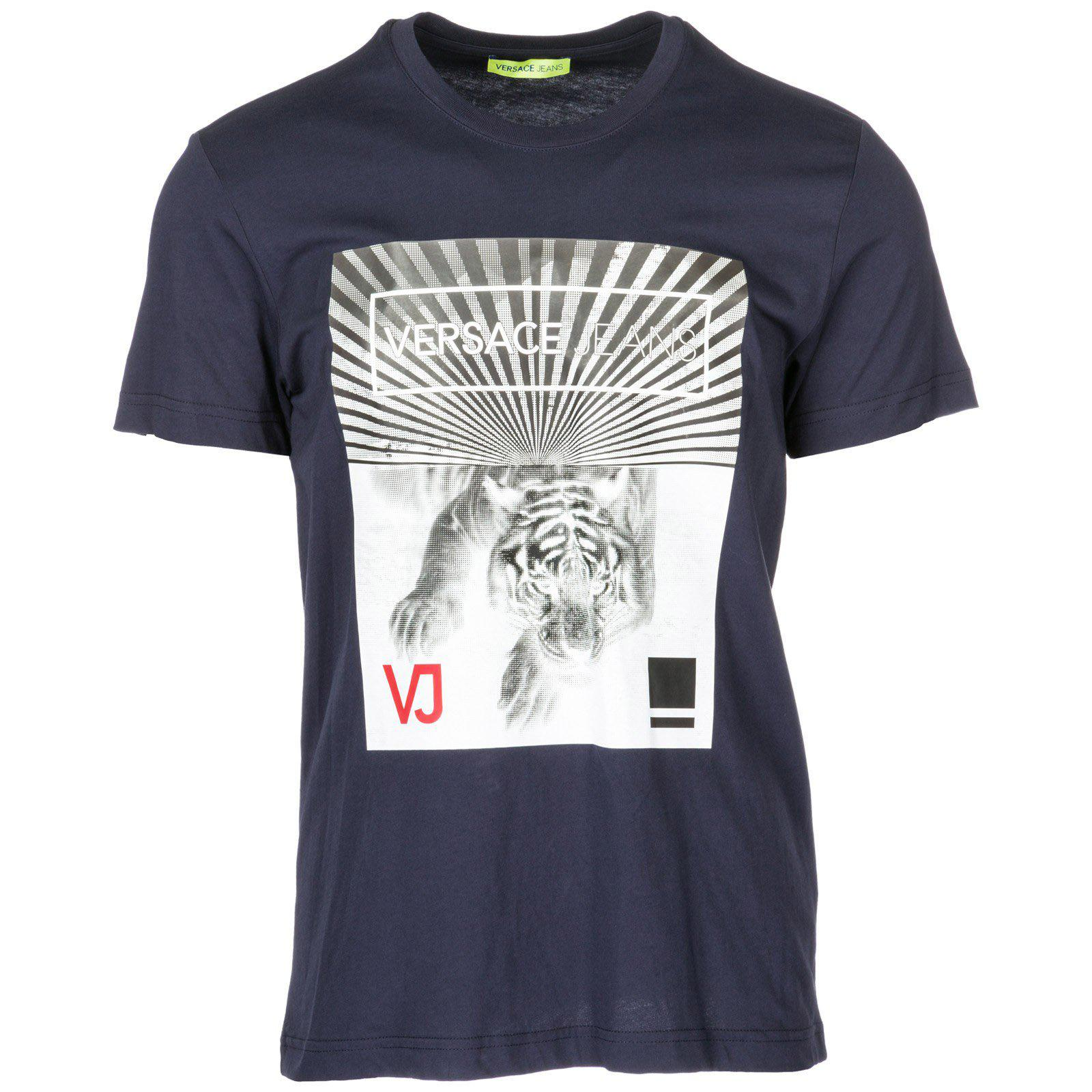 821bf687 Lyst - Versace Jeans Tiger Print T-shirt in Blue for Men