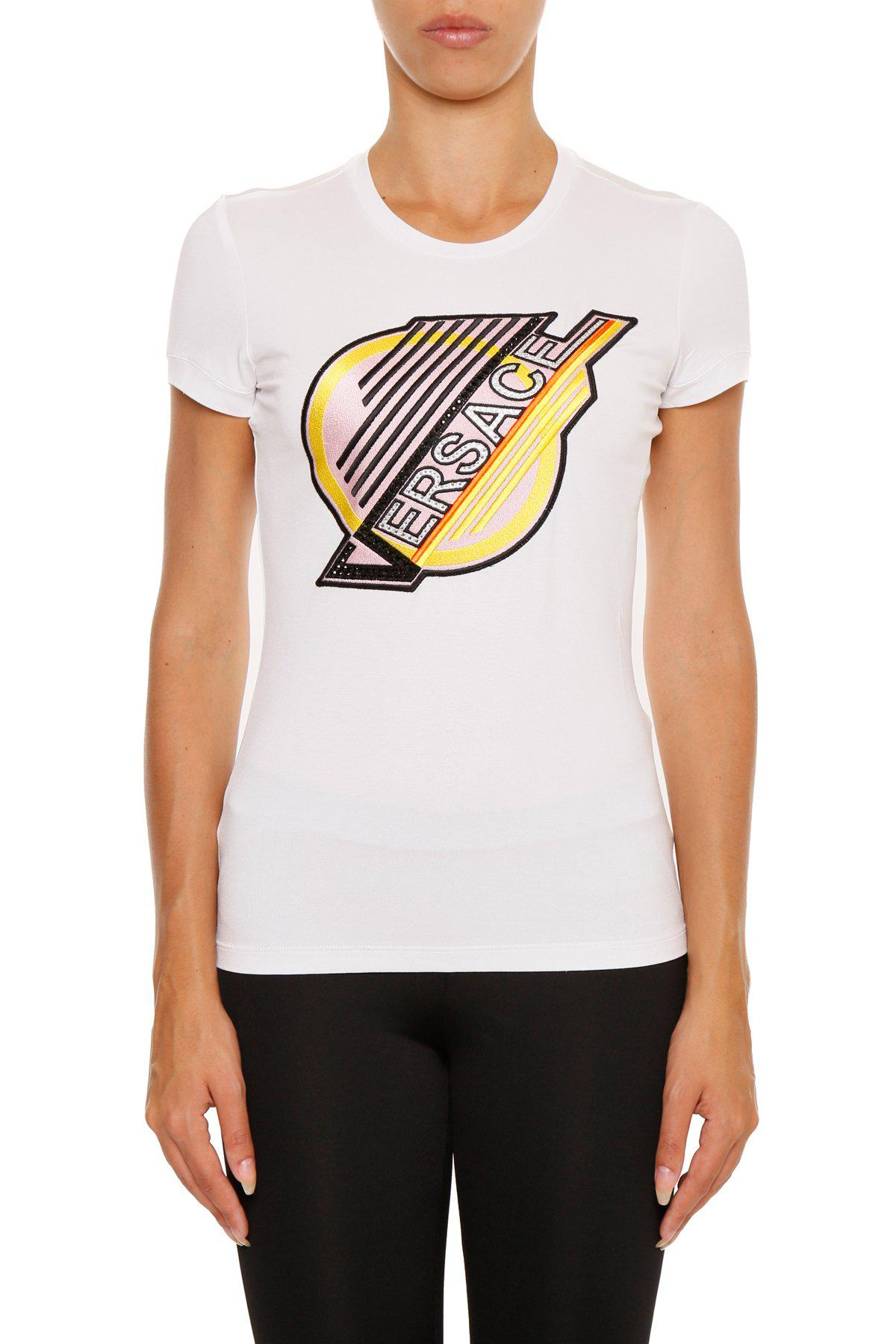 216e78d3f Versace Logo Patch T-shirt in White - Lyst