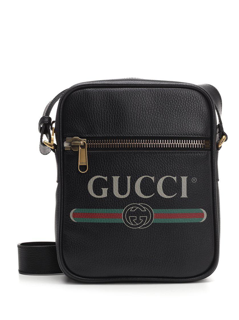 ecedd1f7acc Lyst - Gucci Logo Flight Shoulder Bag in Black for Men
