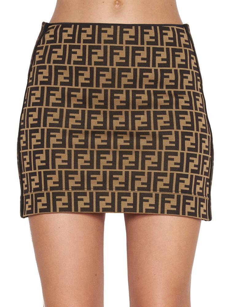 9f63614581b19d Fendi Ff Monogram Mini Skirt in Brown - Lyst