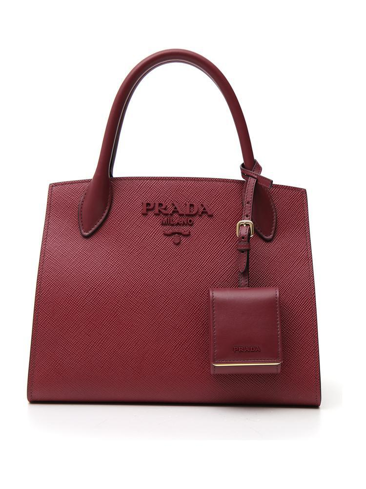 470be79e82c3 Prada Monochrome Small Bag In Saffiano Leather With Maxi Logo And ...