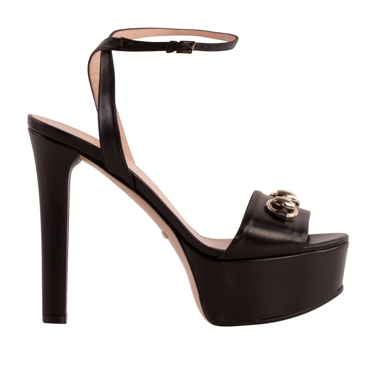 762c28b83ae Gucci Signature Buckle Sandals in Black - Lyst