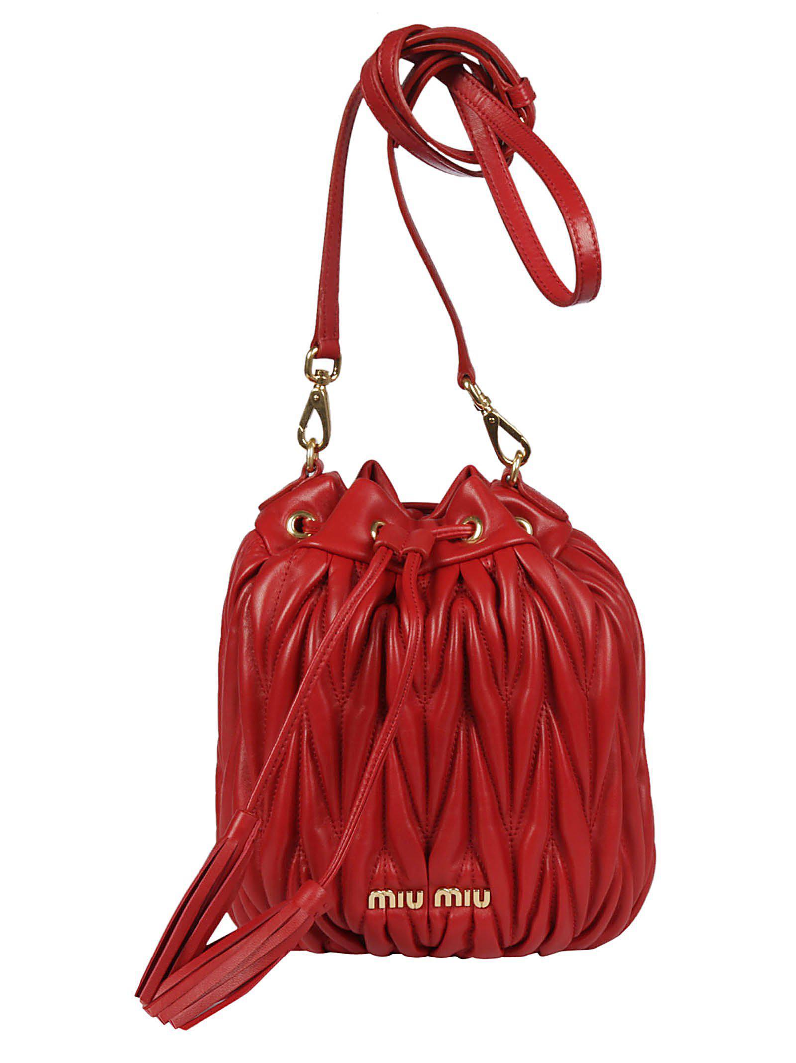 566a64b17b8a Lyst - Miu Miu Matelassé Bucket Bag in Red