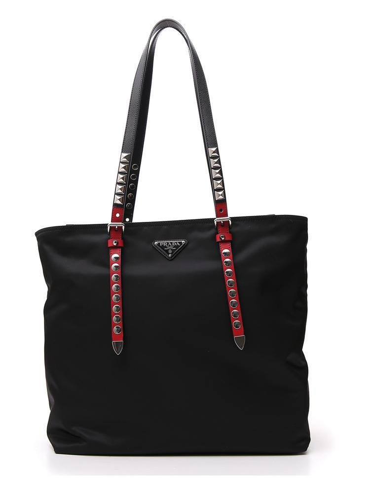 2ad5771250c704 Prada Studded Strap Tote Bag in Black - Lyst