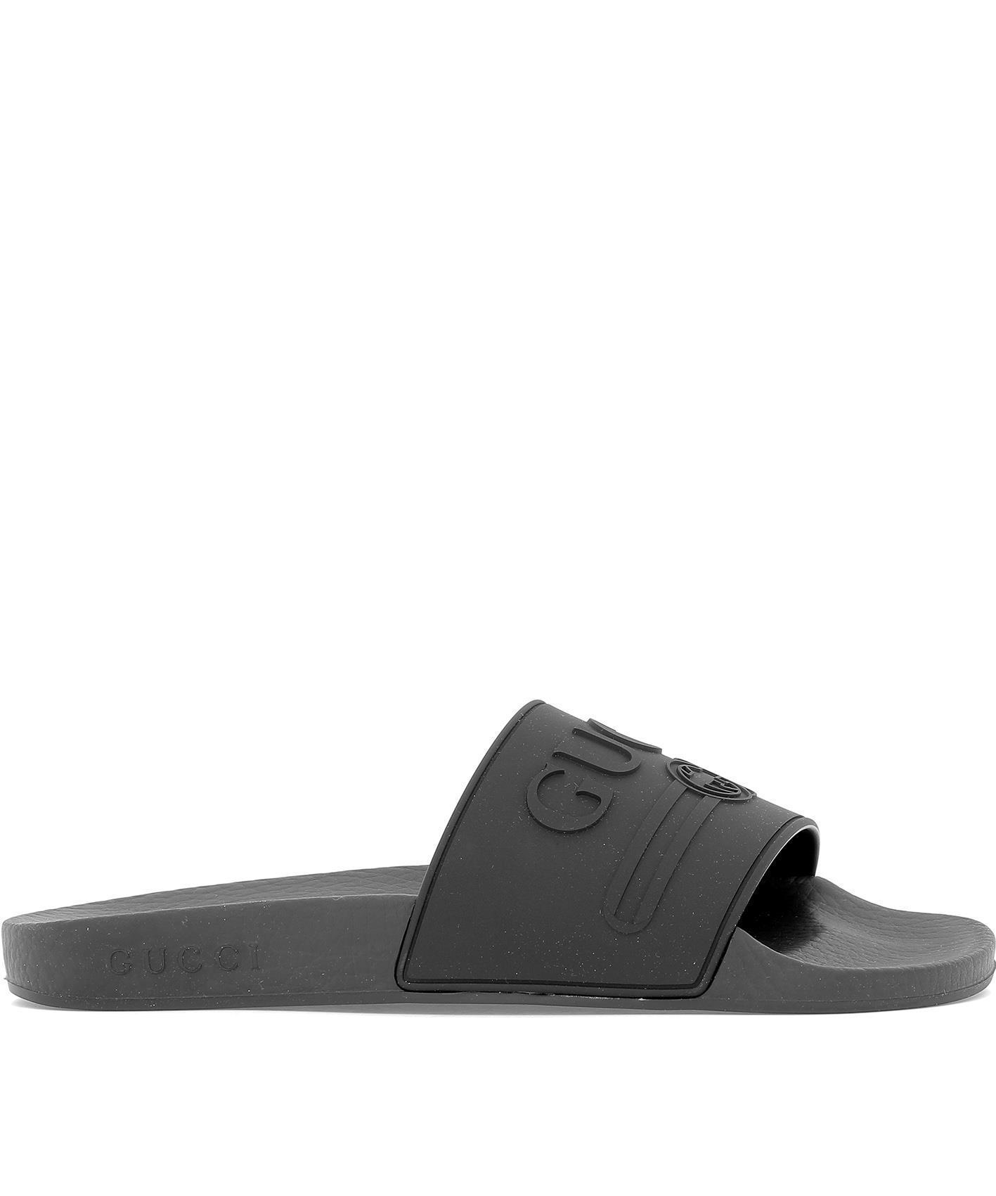 4640d085ddf Lyst - Gucci Logo Slides in Black