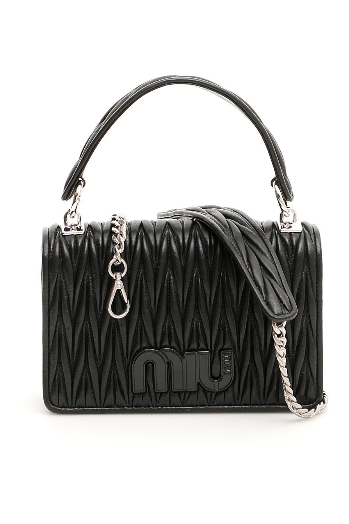 e896906c1fa9 Miu Miu Matelassé Chain Strap Shoulder Bag in Black - Lyst