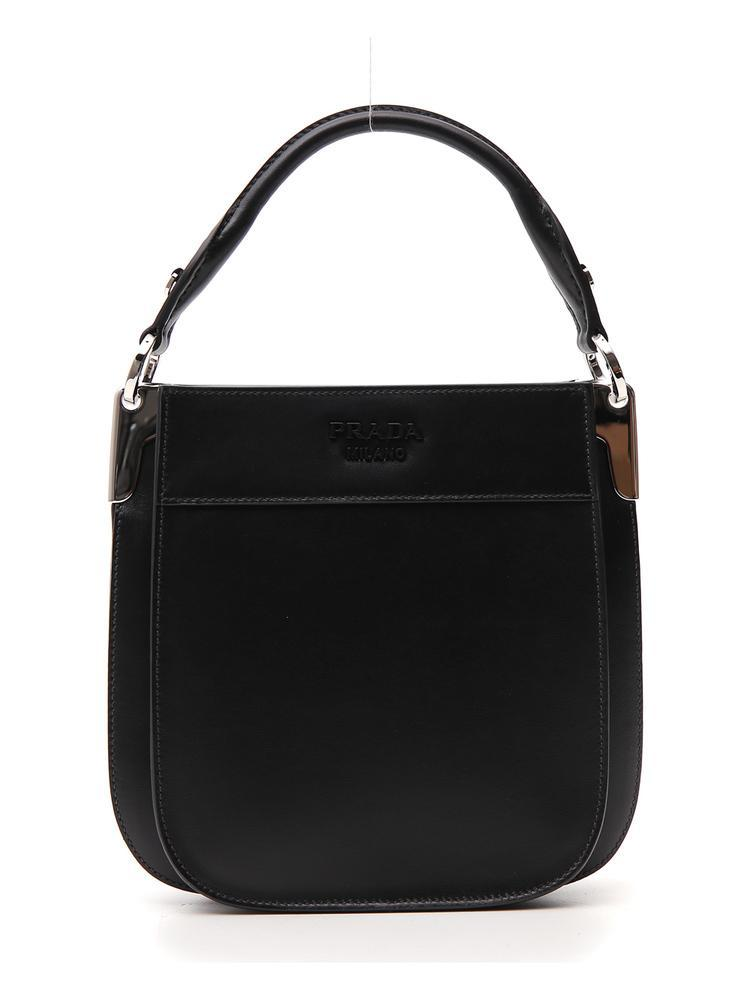 c9b86ef0234dc5 Prada Logo Top Handle Bag in Black - Lyst