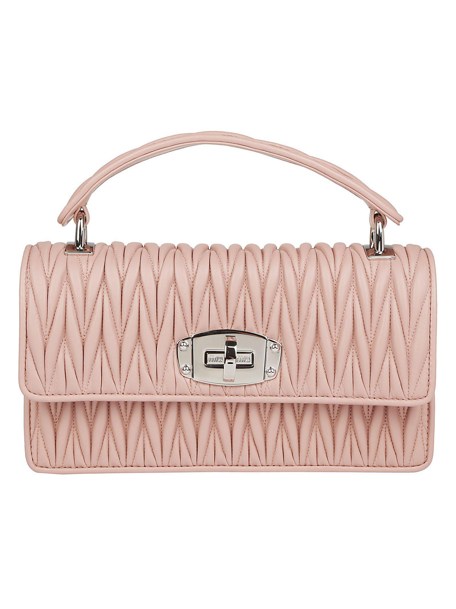 00683e3b73c0 Lyst - Miu Miu Cleo Matelassè Shoulder Bag in Pink