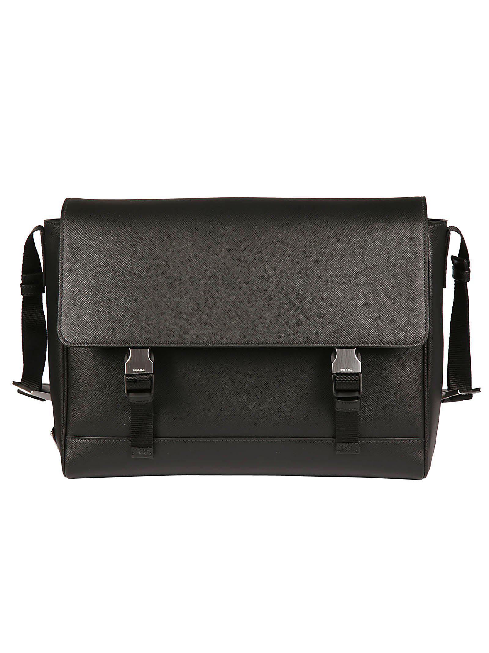 Prada Logo Double Clipped Shoulder Bag in Black for Men - Lyst c1a45e3c13088