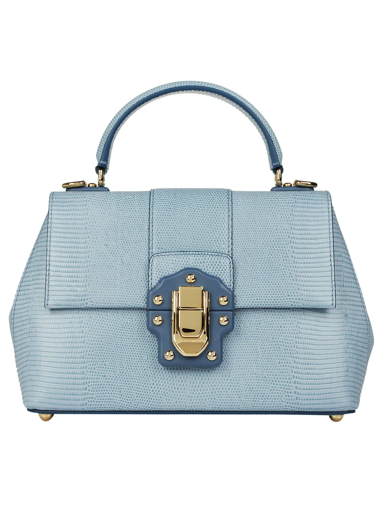 1767ed700a36 Dolce   Gabbana Lucia Snake Effect Tote Bag in Blue - Lyst