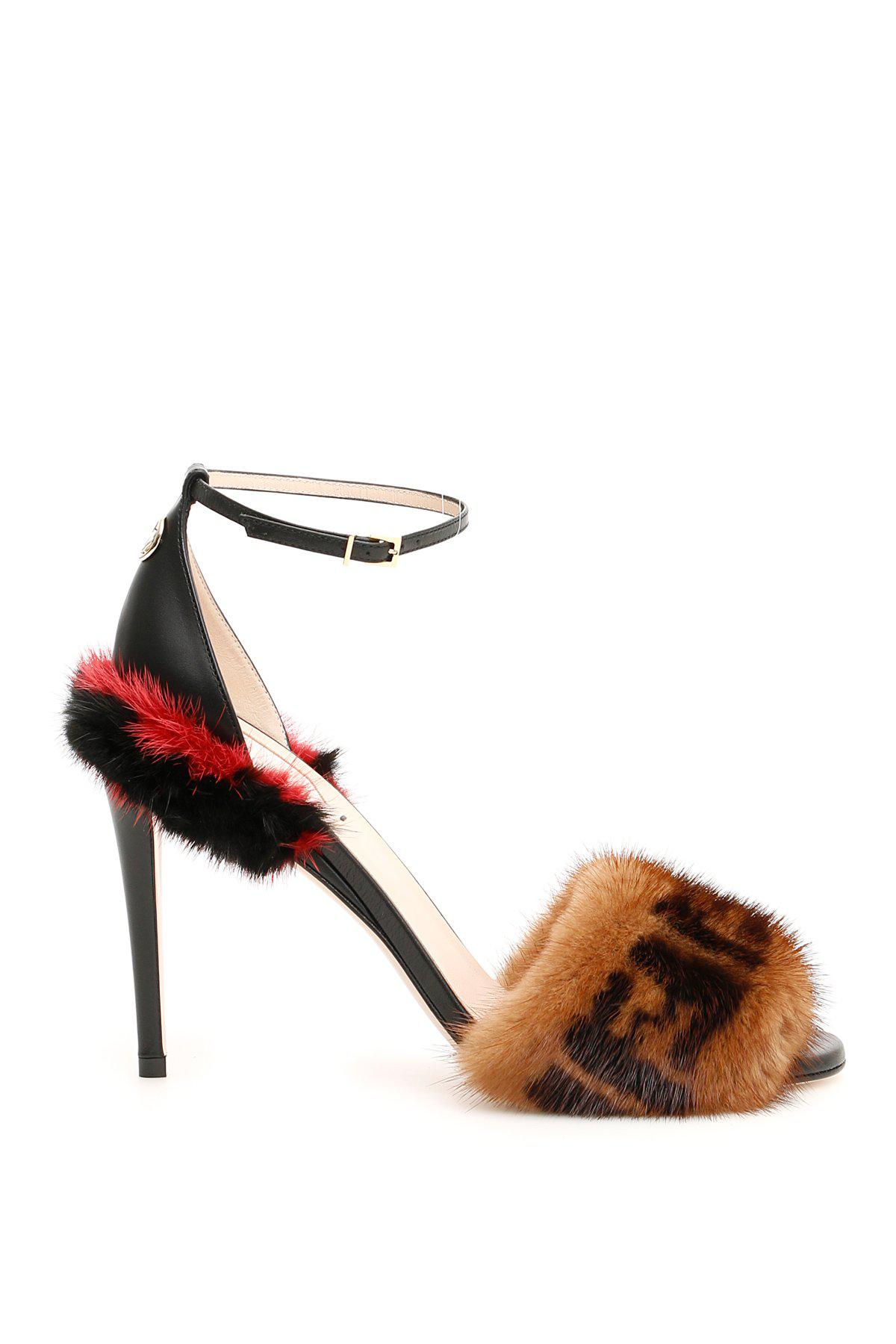 d850a53d6d77 Lyst - Fendi Mink Fur Ff Sandals in Brown