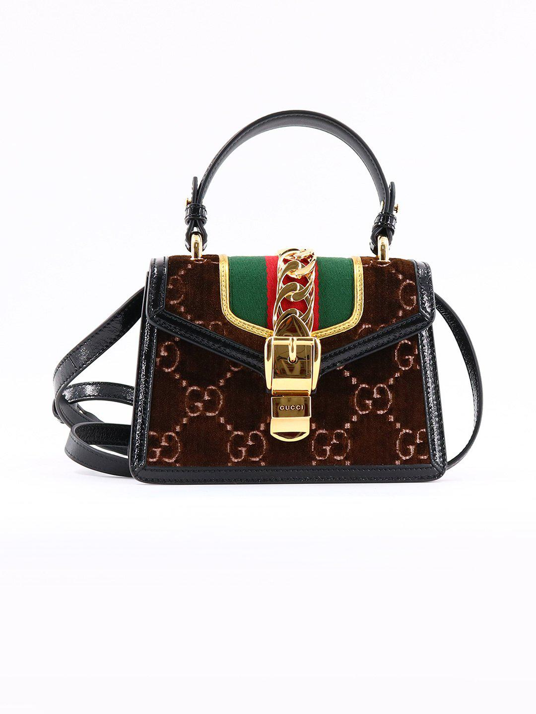eb7eaa03a73 Gucci Sylvie Gg Velvet Mini Bag in Brown - Lyst