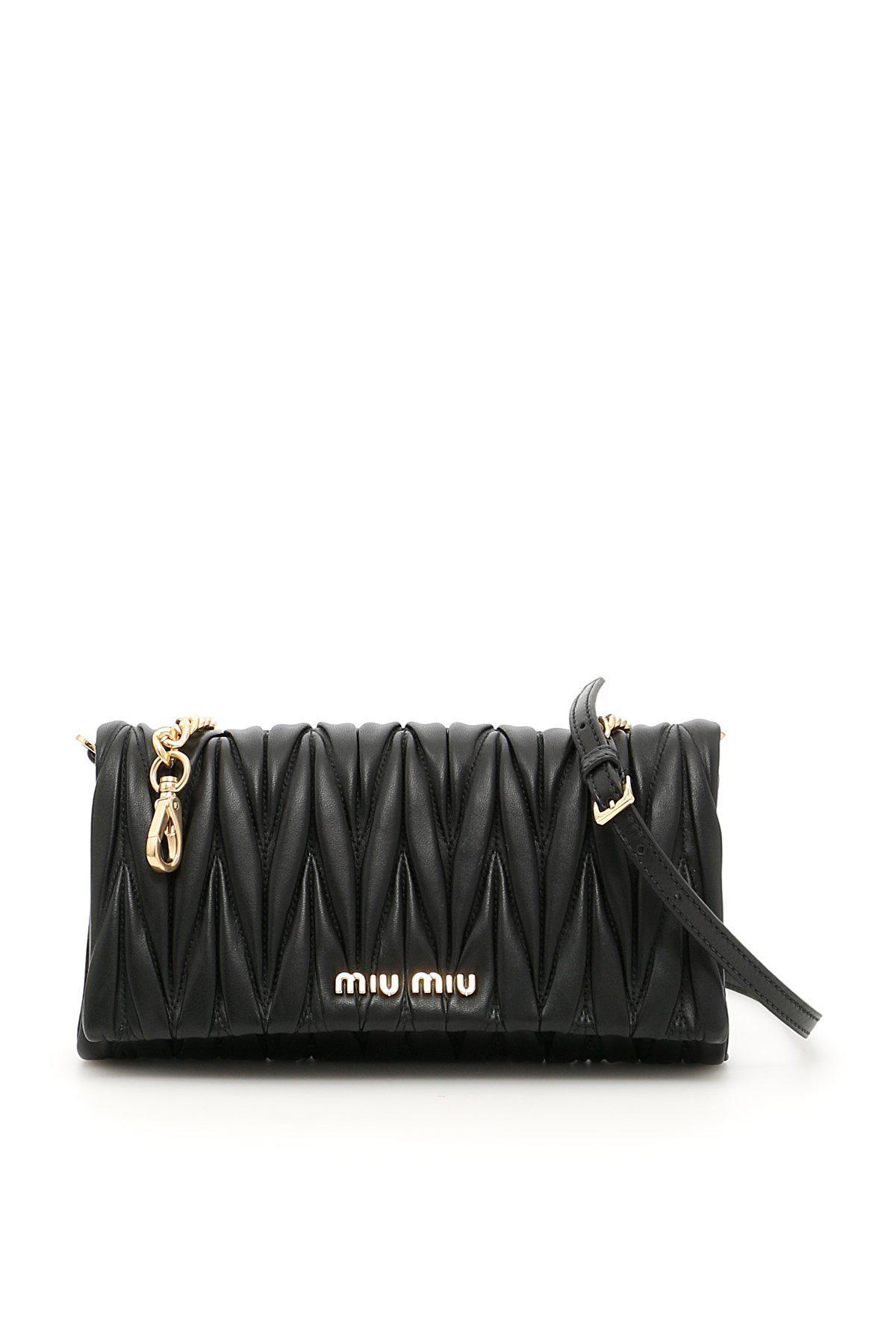 9edcfc96b087 Miu Miu - Black Matellassè Shoulder Bag - Lyst. View fullscreen