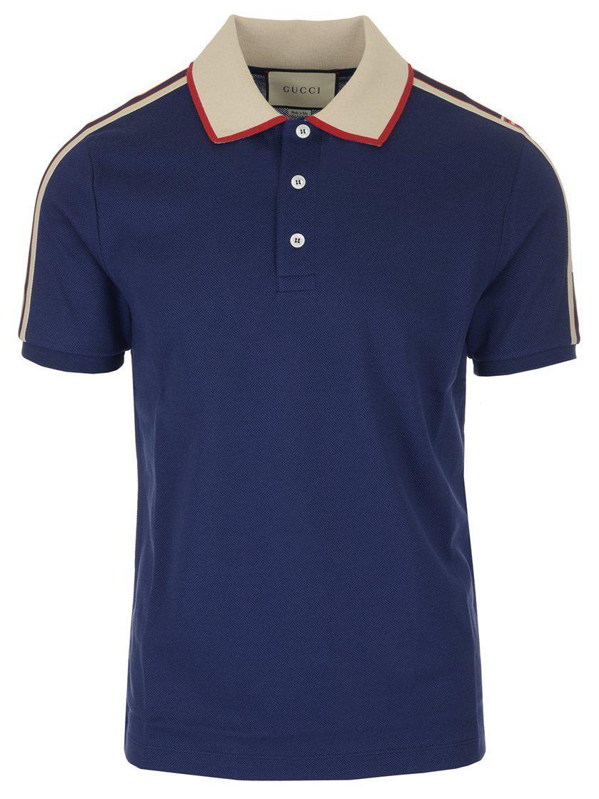 2a3edd6f8a2 Gucci - Blue Logo Ribbon Polo Shirt for Men - Lyst. View fullscreen