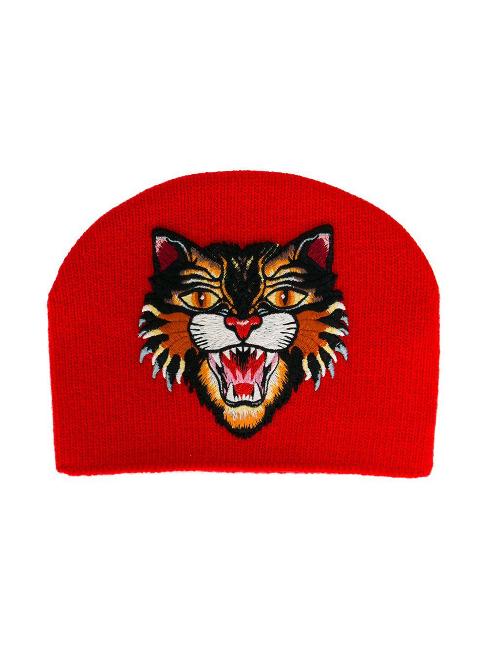 3c41013d0fd Lyst - Gucci Embroidered Angry Cat Beanie in Red
