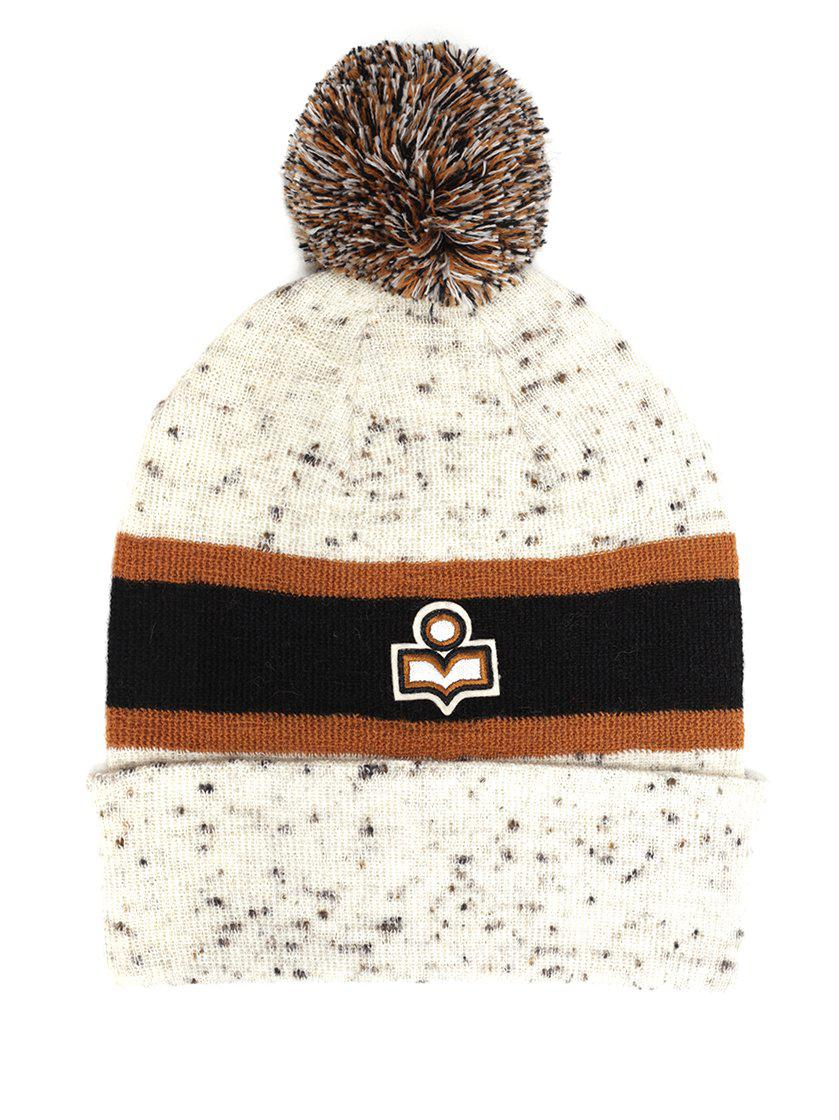 1508a1bd4c86 Lyst - Isabel Marant Pom-pom Detailed Beanie in Natural