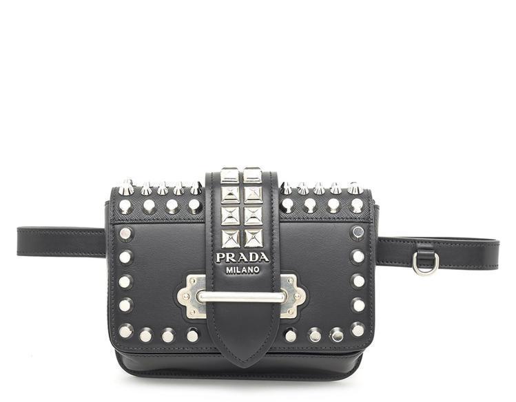 Prada Cahier Studded Belt Bag in Black - Lyst 64016efd24611