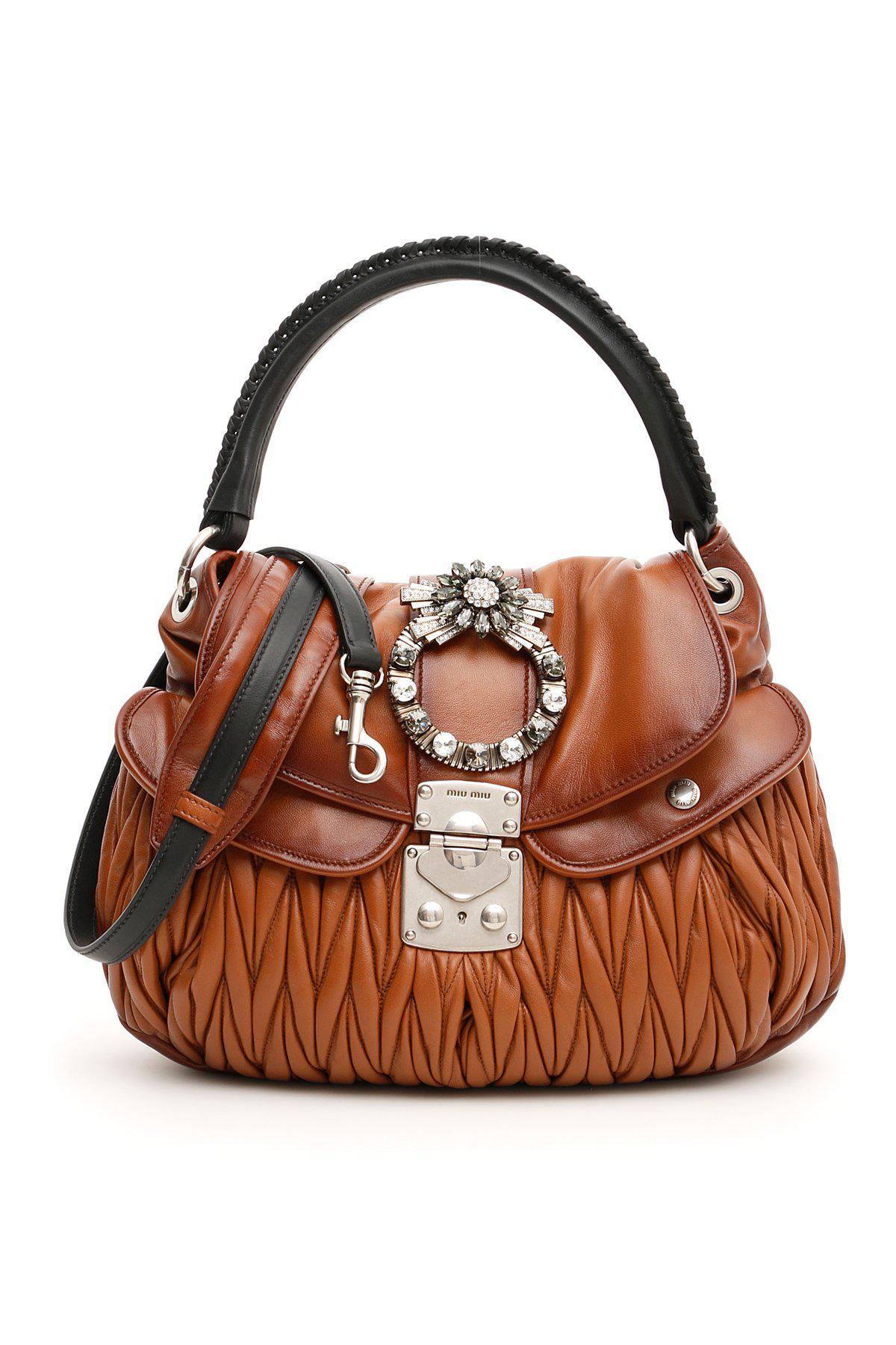 3aaa61b9535a Miu Miu Crystal Buckle Coffer Bag in Brown - Lyst