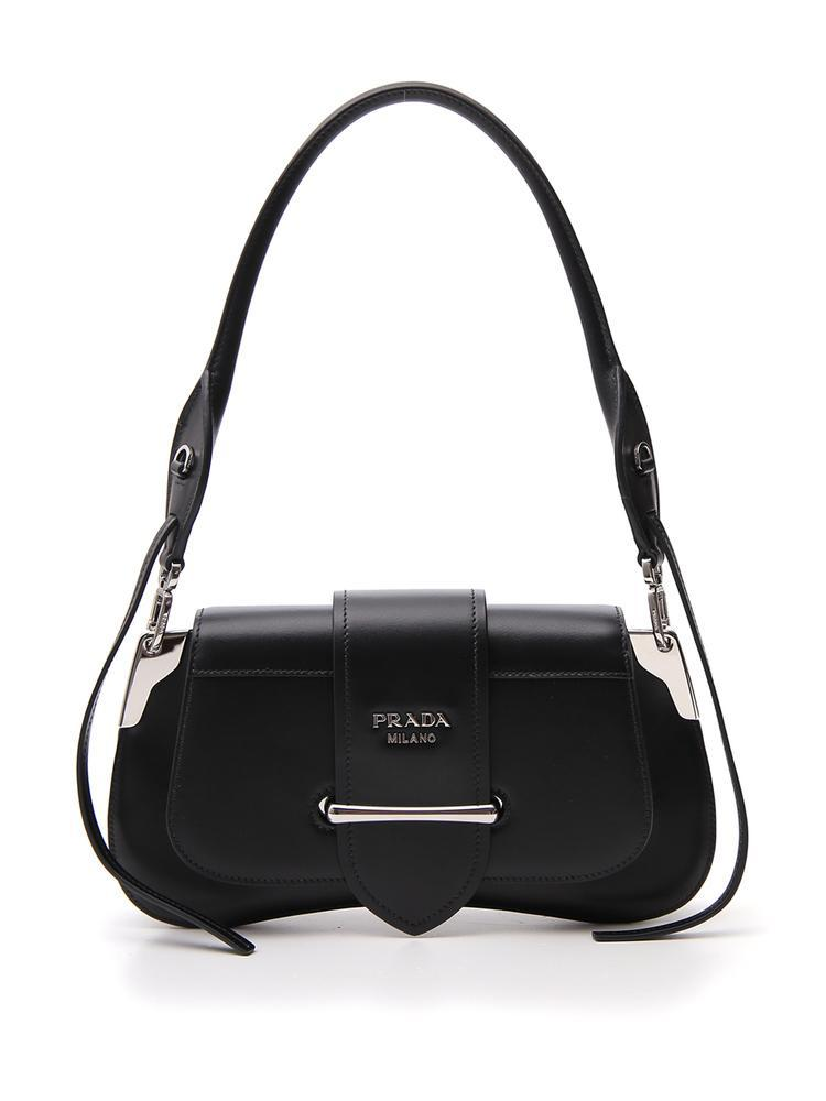 1f36cbb1c1e853 Prada Buckle Strap Shoulder Bag in Black - Lyst