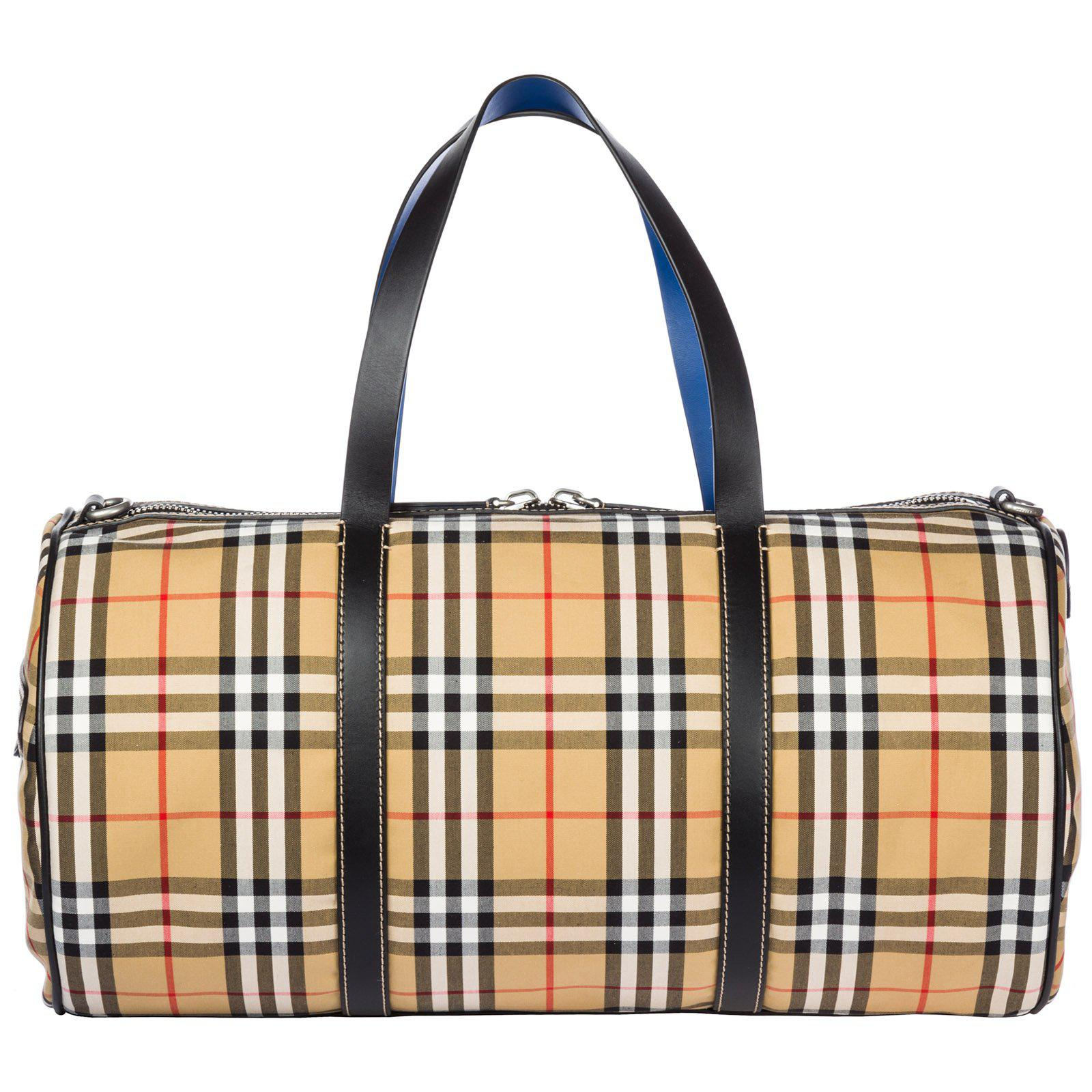 113e486a13f1 Burberry Large Vintage Check Duffle Bag in Natural for Men - Lyst