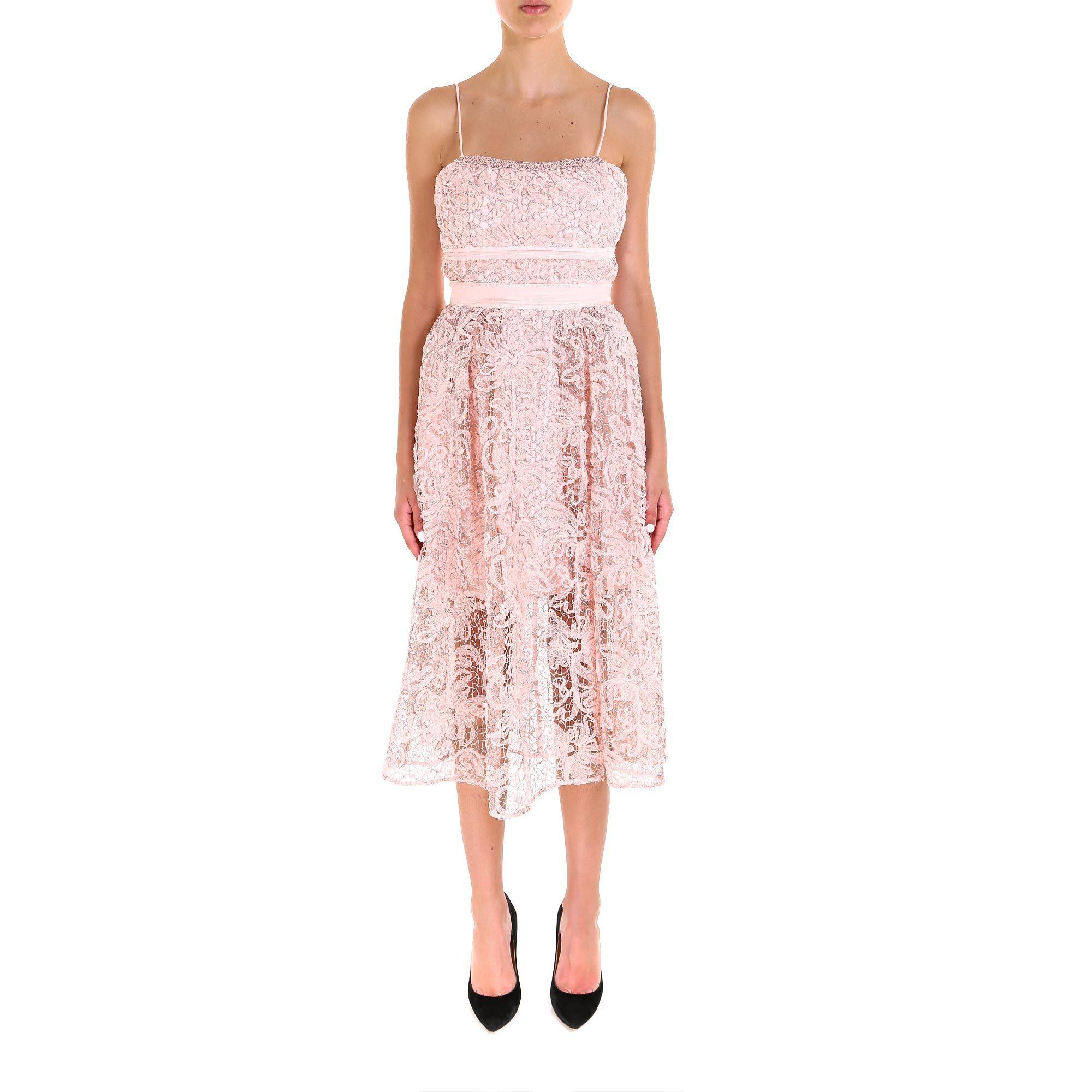 e3d53bcf03c5 Self-Portrait Lace Midi Dress in Pink - Lyst