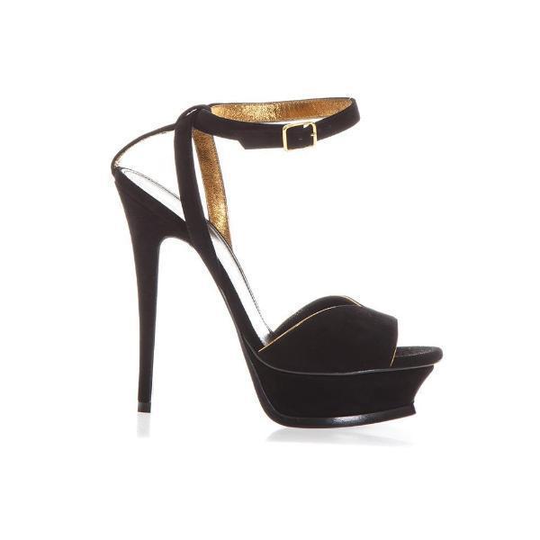 2161ee754b27 Lyst - Saint Laurent Tribute 105 Suede Sandals in Black - Save ...