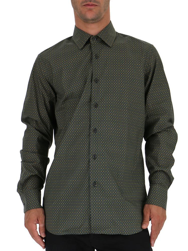 54a51594 Prada Patterned Shirt in Green for Men - Lyst