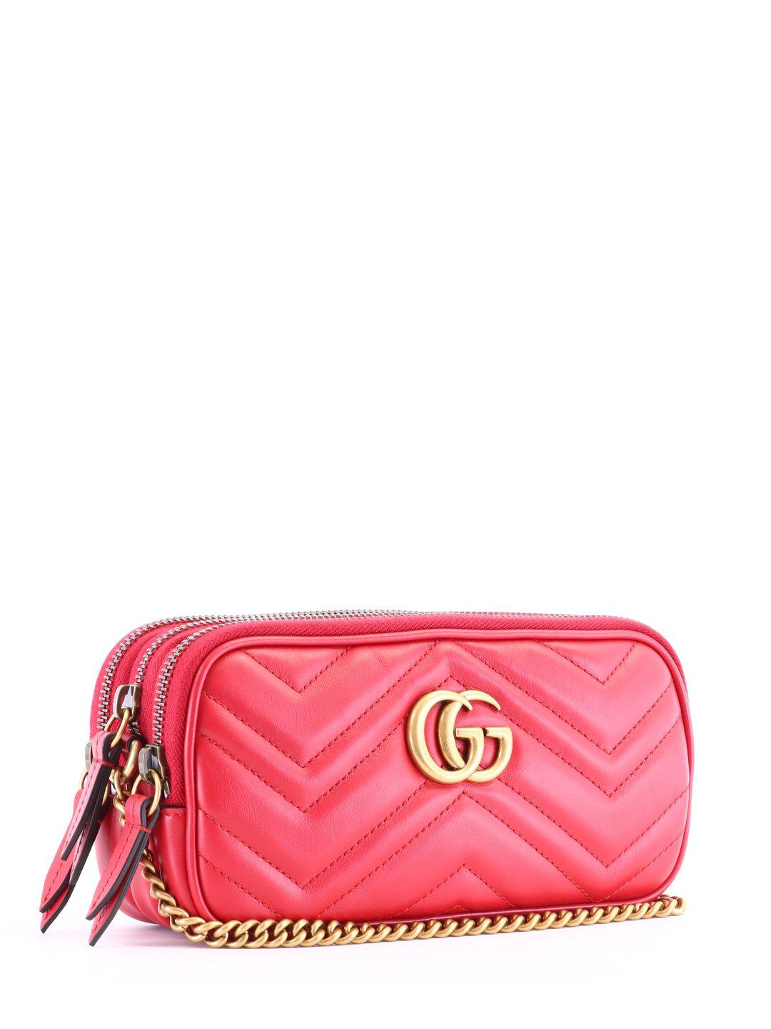 4bd1878b6a6a Lyst - Gucci GG Marmont Chain Strap Bag in Red