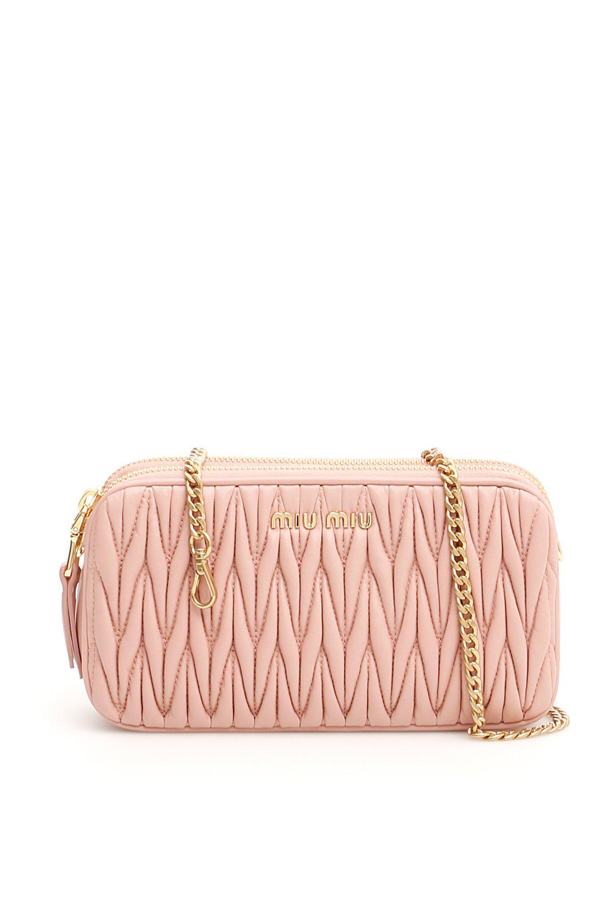 Miu Miu - Pink Matelassé Mini Bag - Lyst. View fullscreen d0db281f48
