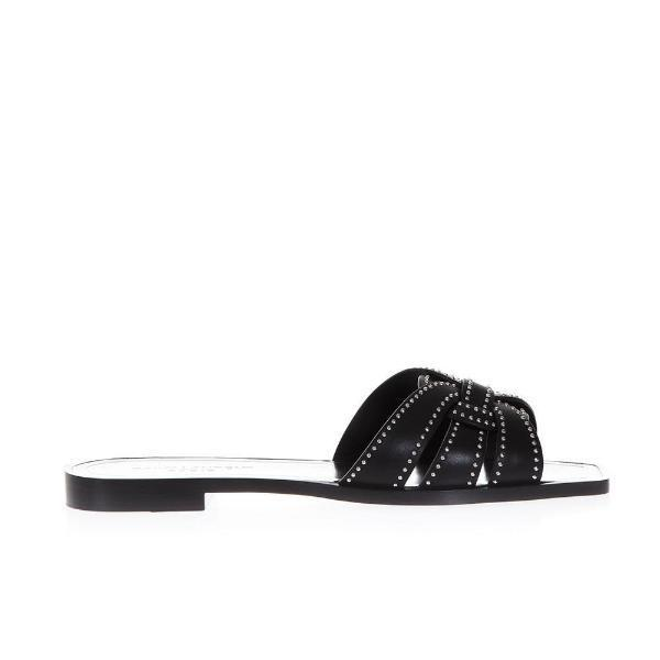 b792746aa50b Lyst - Saint Laurent Leather Slides in Black - Save 56%