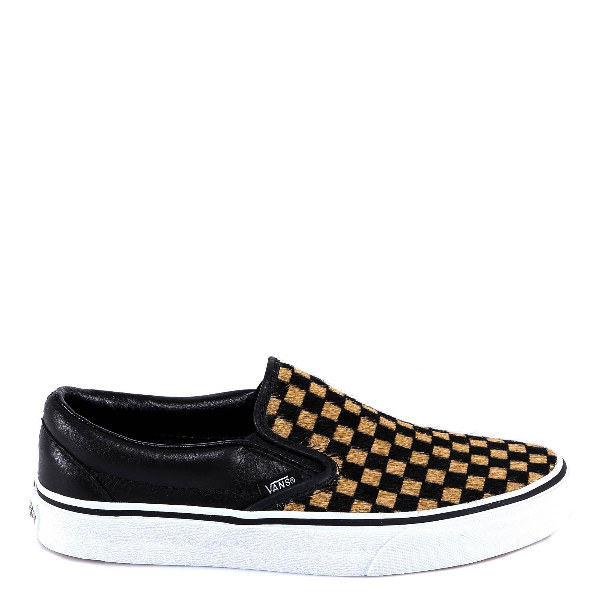 38575903150fba Lyst - Vans Checkerboard Low-top Fur Sneakers in Black - Save 49%