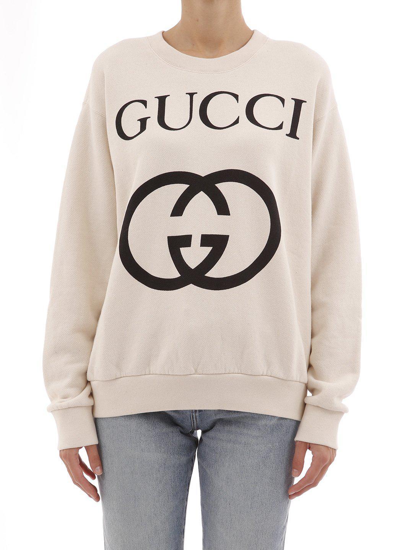 2f1c014a1ae Lyst - Gucci GG Logo Sweatshirt in White - Save 21.41666666666667%
