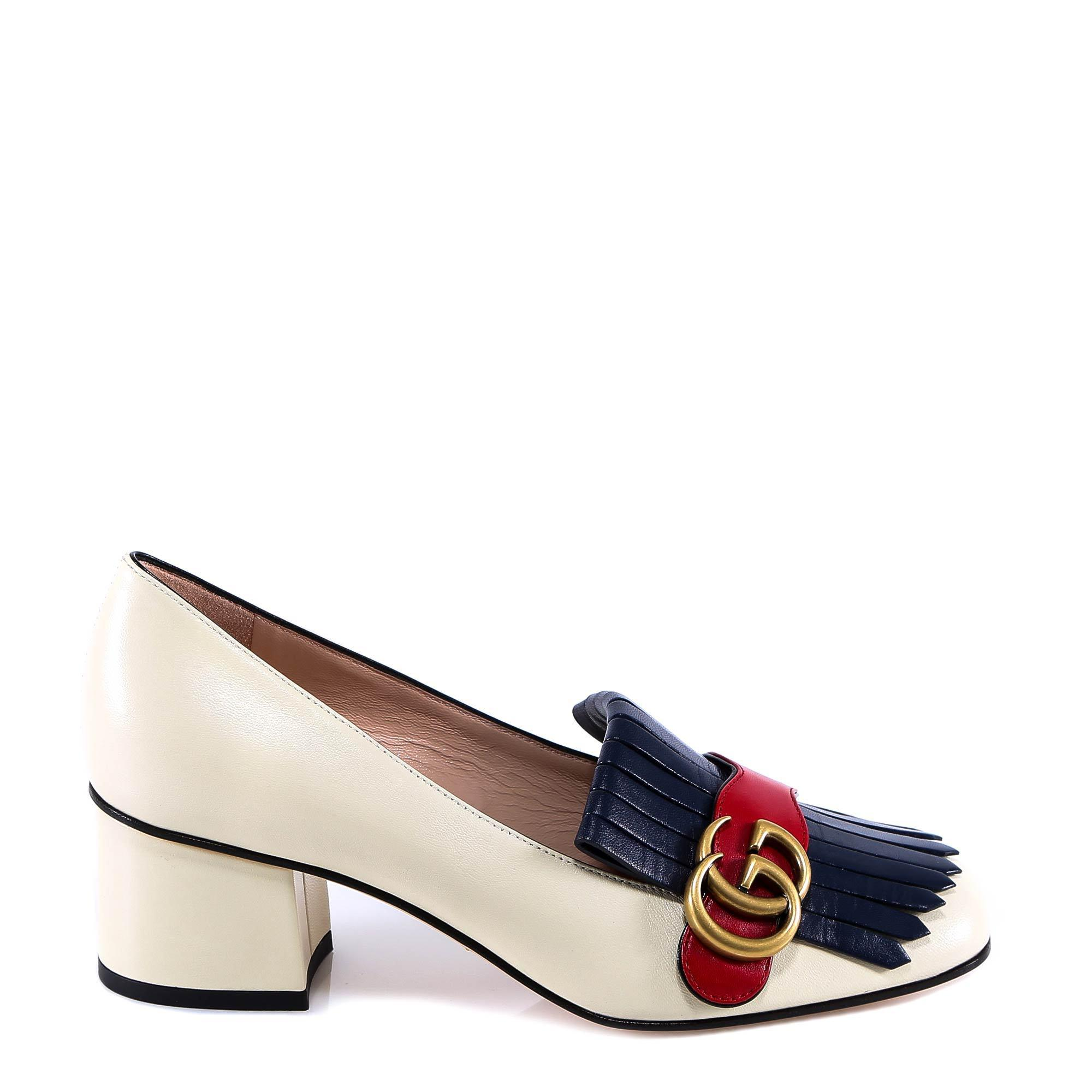 1bed5af4118 Lyst - Gucci GG Marmont Loafer Pumps in White