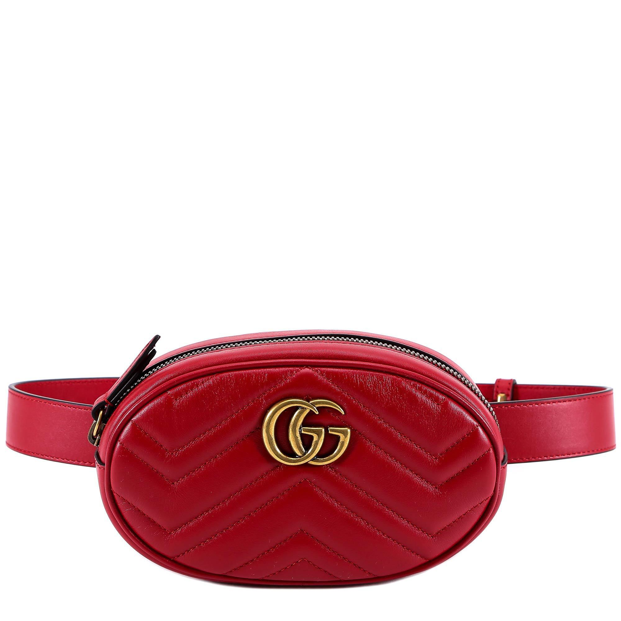 ec6a34935e18 Gucci GG Marmont Leather Belt Bag in Red - Lyst