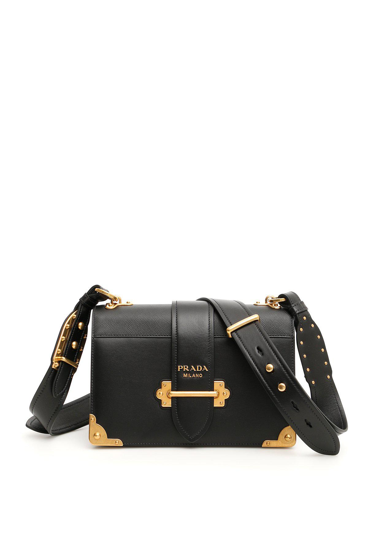13871567acf5 Prada Logo Cahier Shoulder Bag in Black - Lyst