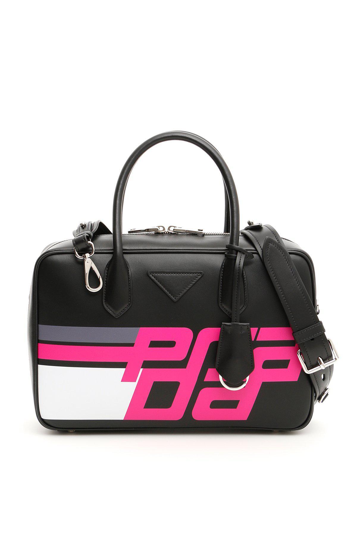 4880154d7189 Prada Logo Print Bowling Bag in Black - Lyst
