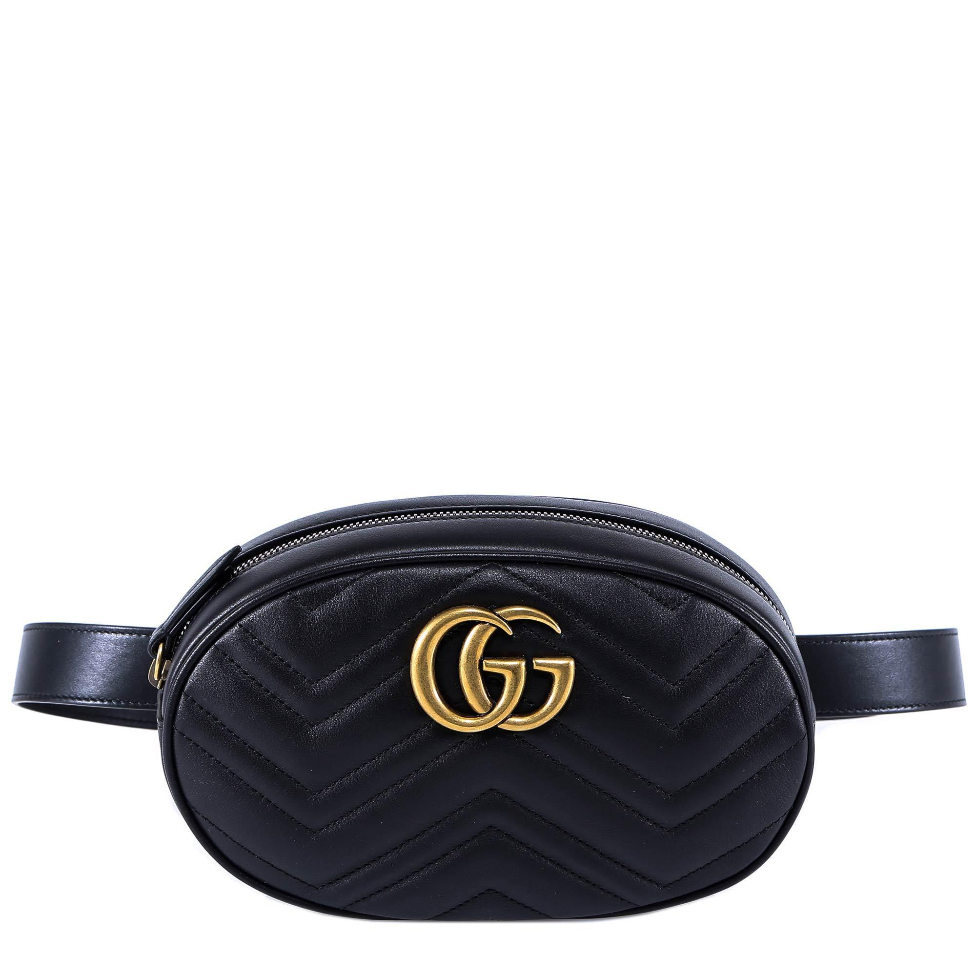 adec46d66a45 Gucci GG Marmont Belt Bag in Black - Lyst