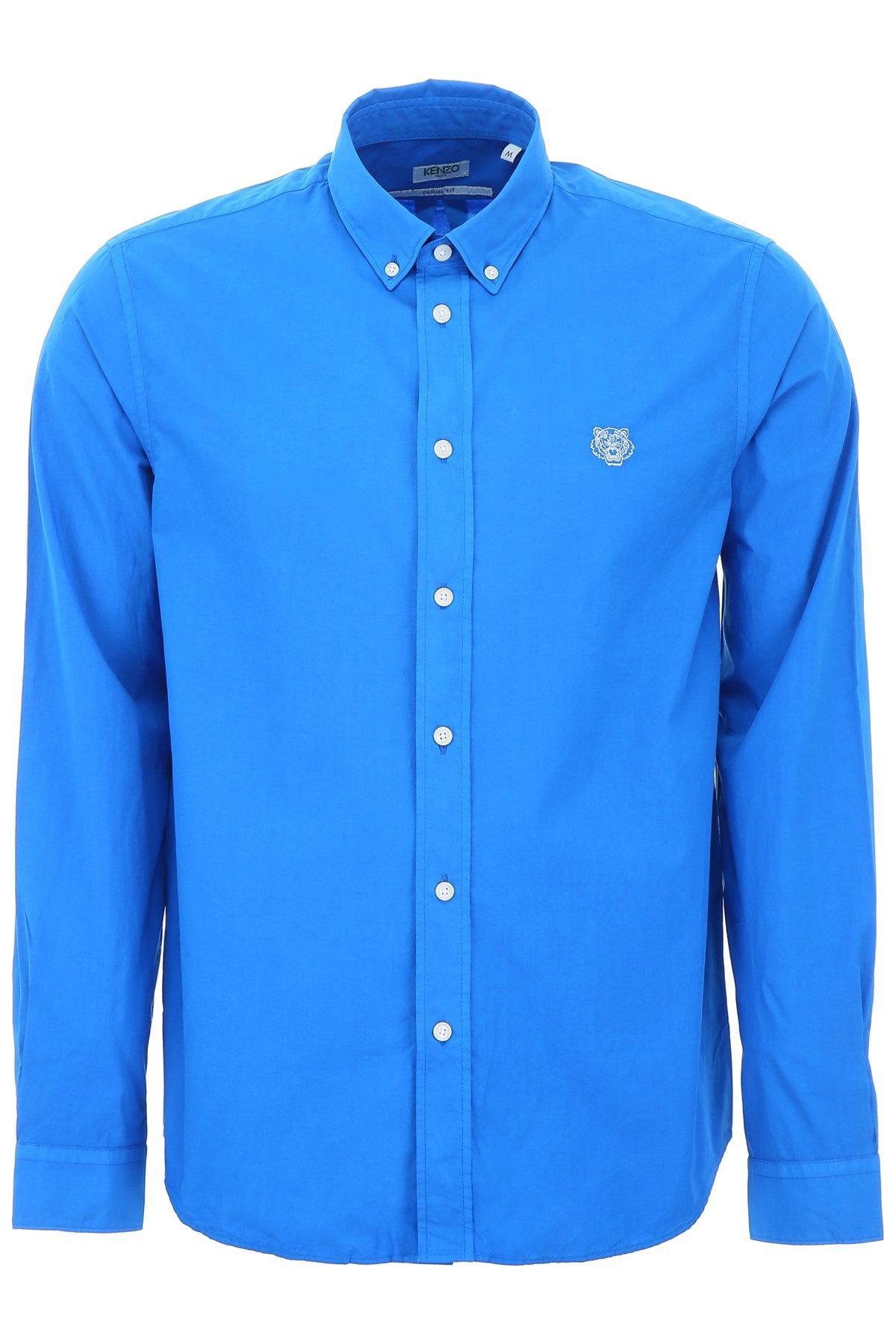 12c35aec KENZO Tiger Detail Shirt in Blue for Men - Lyst