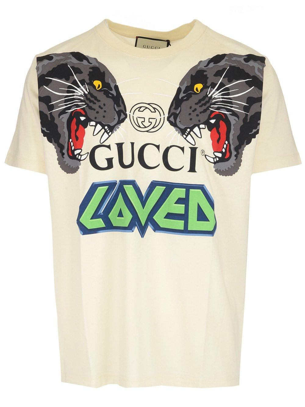63fd8b12 Lyst - Gucci Tiger Print T-shirt in White for Men