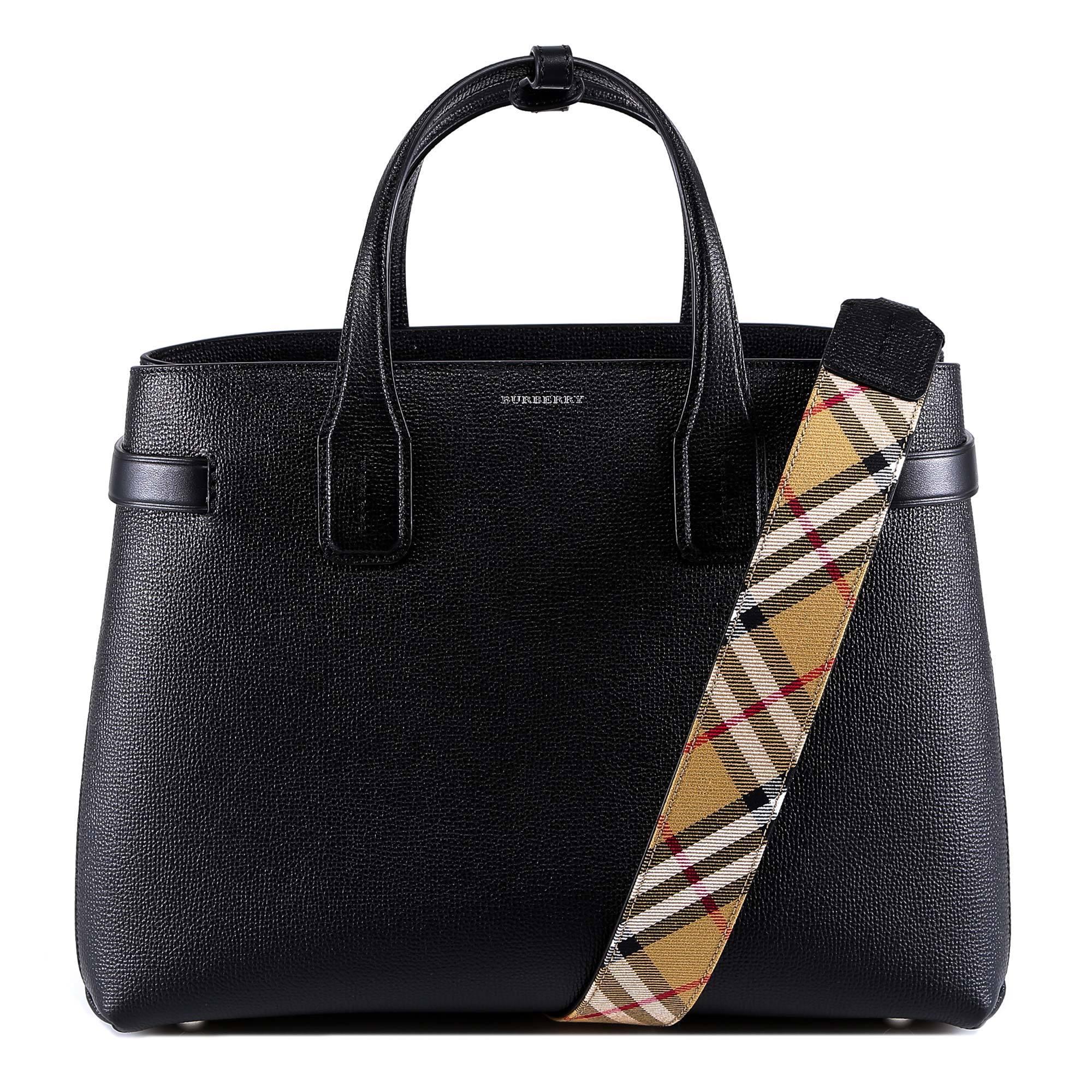 c88660f1f5 Burberry Medium Banner Top Handle Bag in Black - Lyst