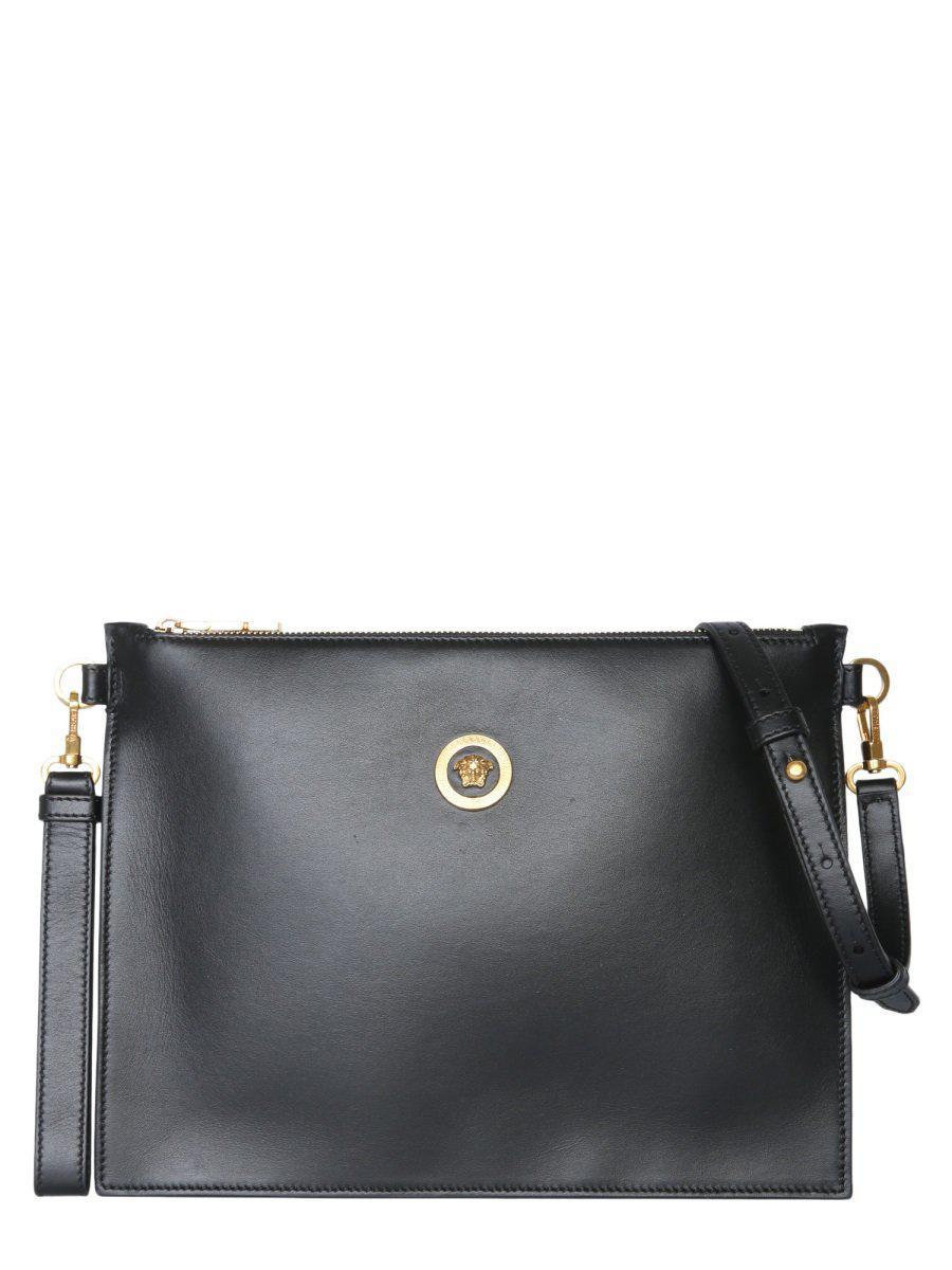 36e0695526ed Versace Large Medusa Logo Clutch Bag in Black - Lyst