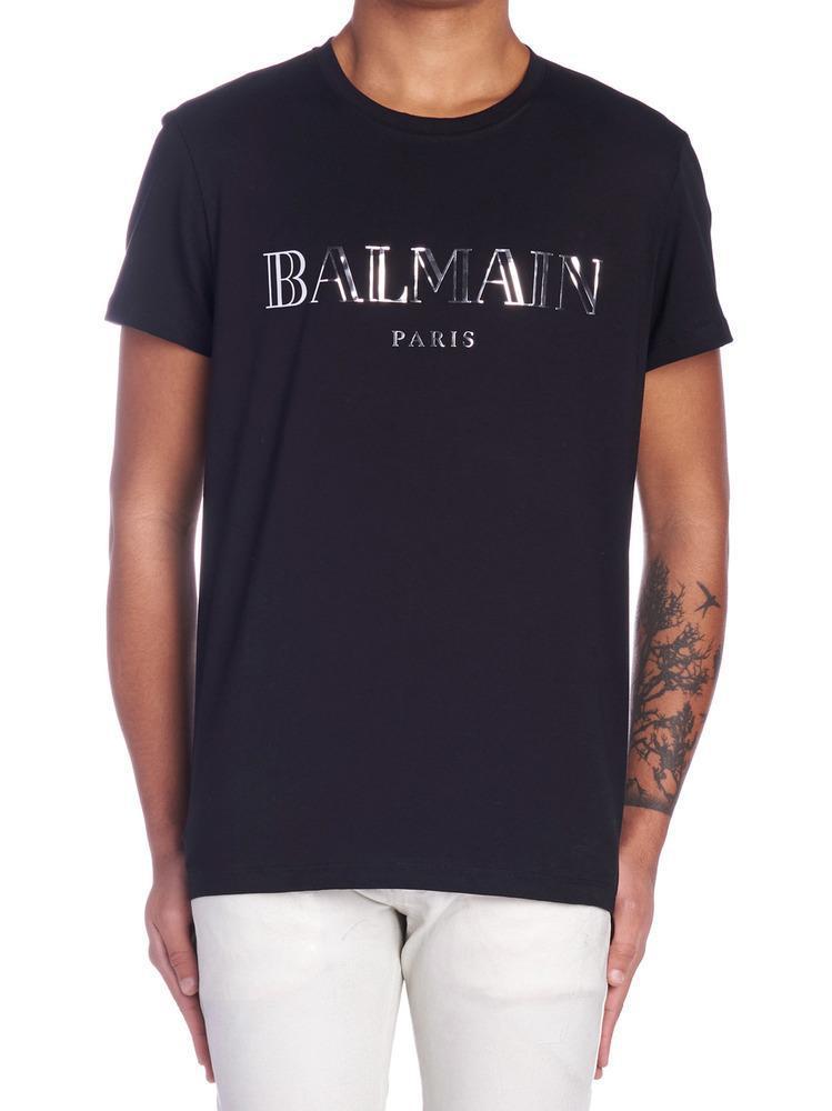 a651f381 Balmain Logo Printed T-shirt in Black for Men - Lyst