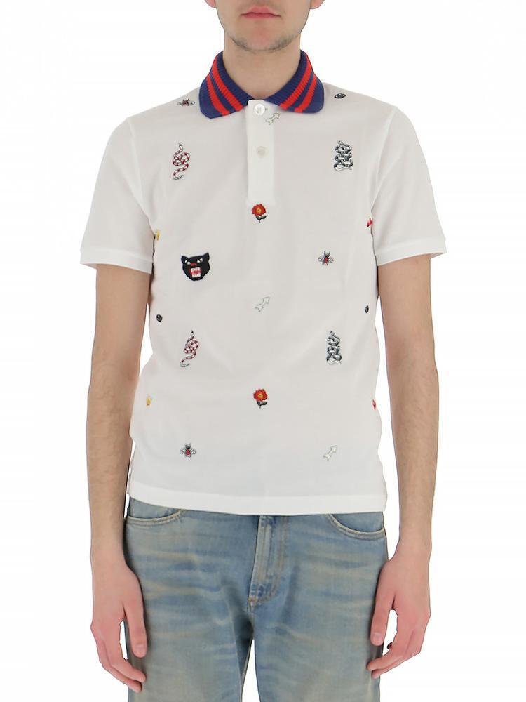 0702beb12e9 Gucci Embroidered Polo Shirt for Men - Lyst