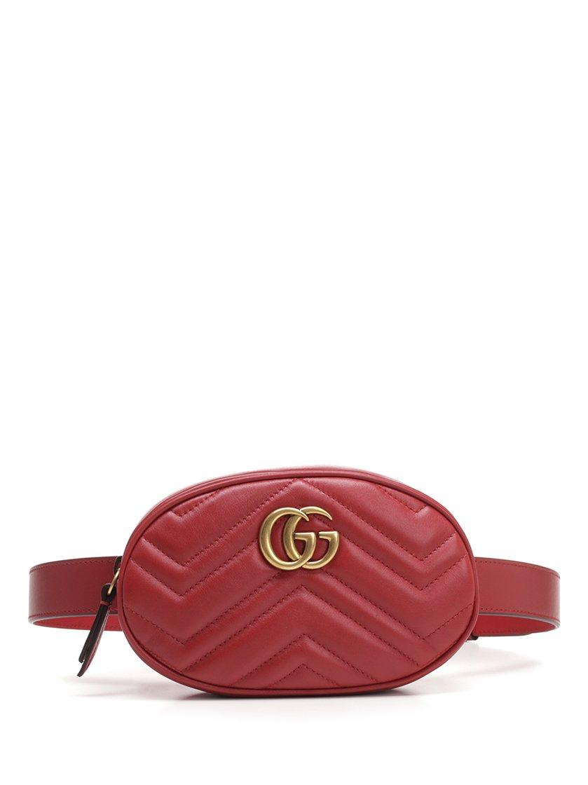 0aaccad9b872 Gucci GG Marmont Quilted Belt Bag in Pink - Lyst