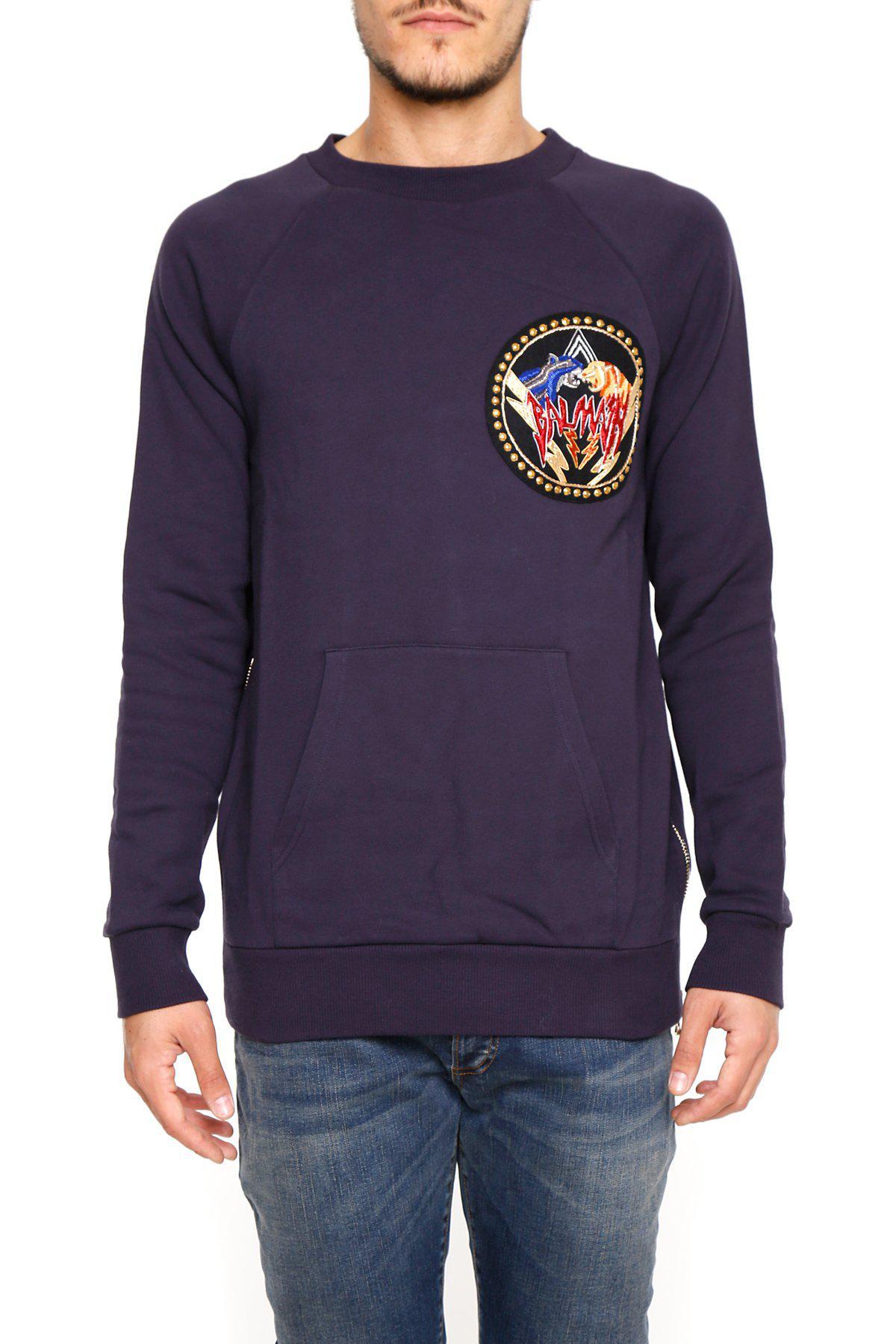 8856805d Lyst - Balmain Logo Patch Sweater in Purple for Men
