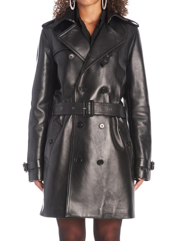 849457e1d5f Saint Laurent Leather Trench Coat in Black - Save 52% - Lyst