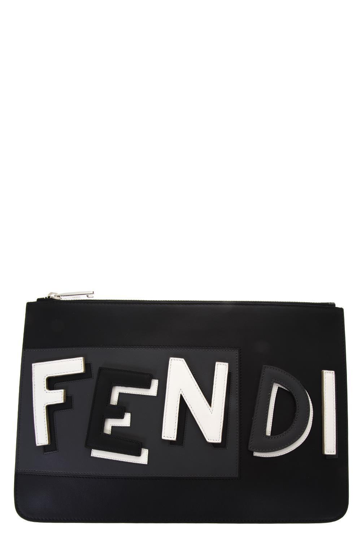 a5f53cf2a5be Lyst - Fendi Logo Clutch in Black