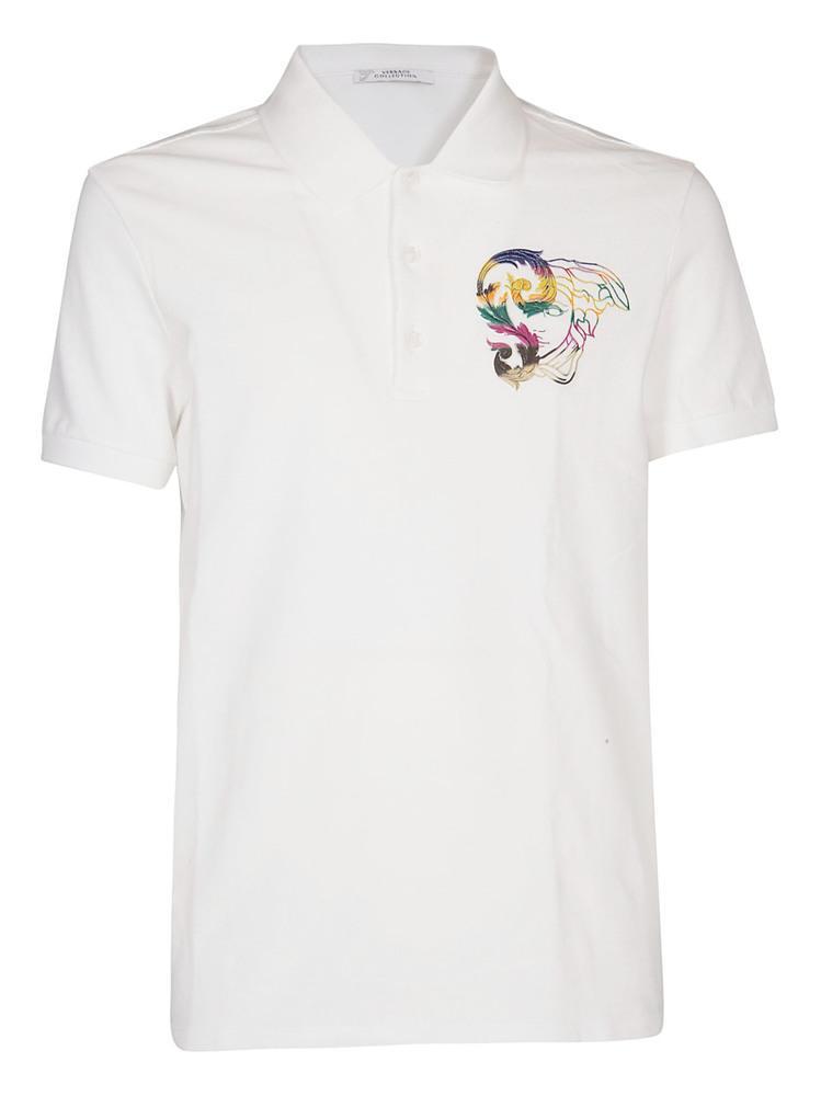 501de0cfe Versace Medusa Polo Shirt in White for Men - Lyst